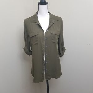 LOFT Button Down Military Green Blouse Pockets Med